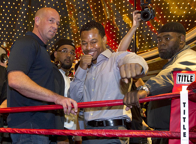 Shane Mosley acknowledges fans after arriving at the MGM Grand.