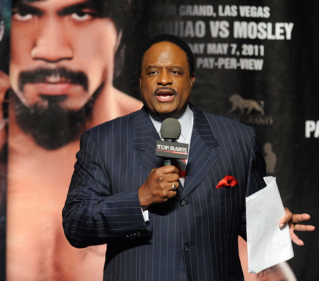 Sportscaster James Brown emcees the official weigh-in.