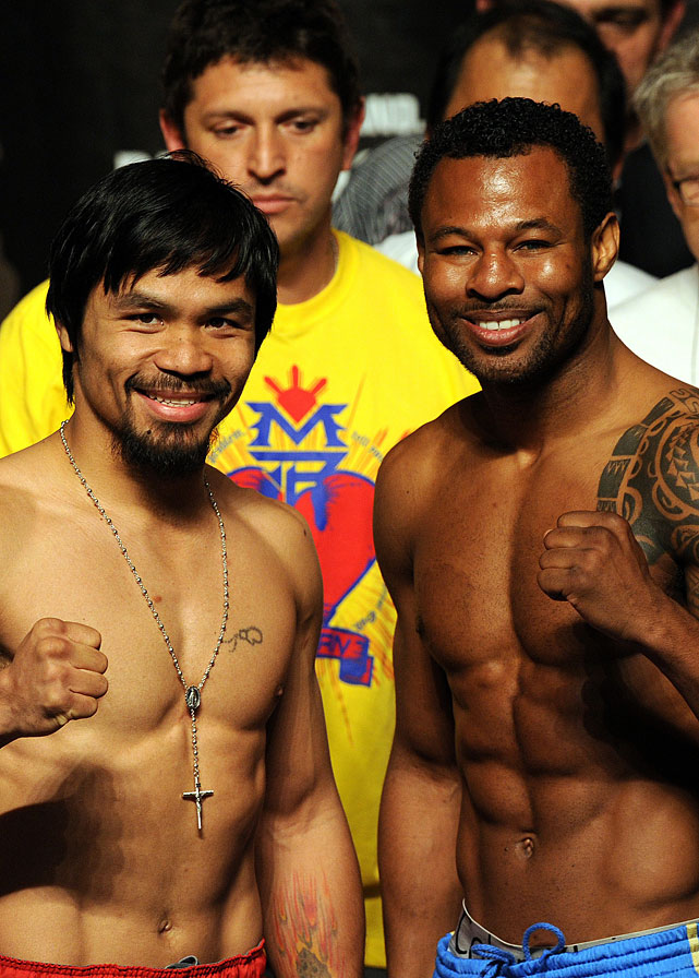 Pacquiao and Mosley attend the official weigh-in.