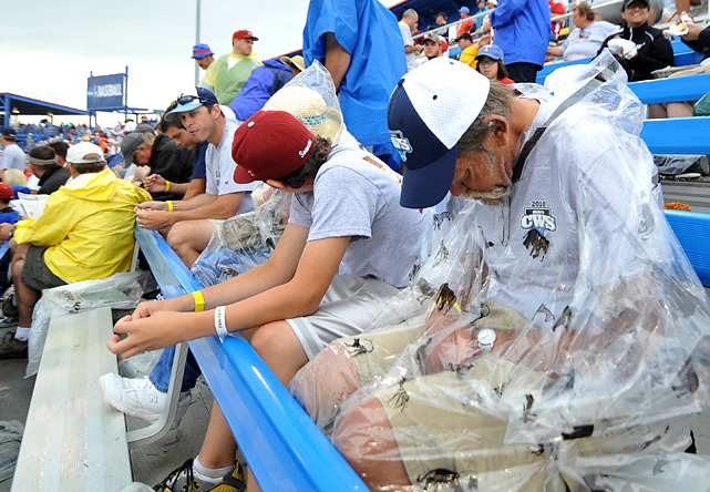 A rain delay at the 2010 College World Series provided the perfect opportunity for this baseball fan to catch up on his sleep.