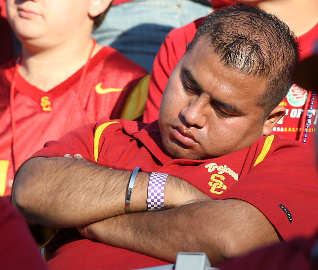 USC may be one one of the nation's most exciting college football teams, but this fan couldn't stay awake long enough to enjoy the game.