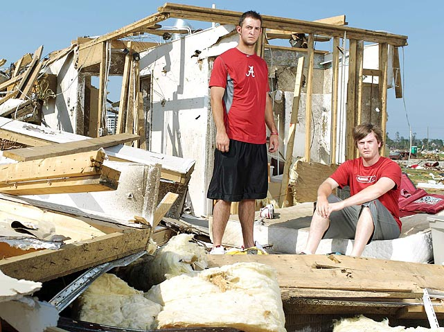 University of Alabama catcher Josh Rosecrans and pitcher Nate Kennedy were in their house when the tornado hit. They hid in the bathtub with a mattress on top of them. Their house was destroyed, but after the tornado passed, they helped a neighbor with a head injury.