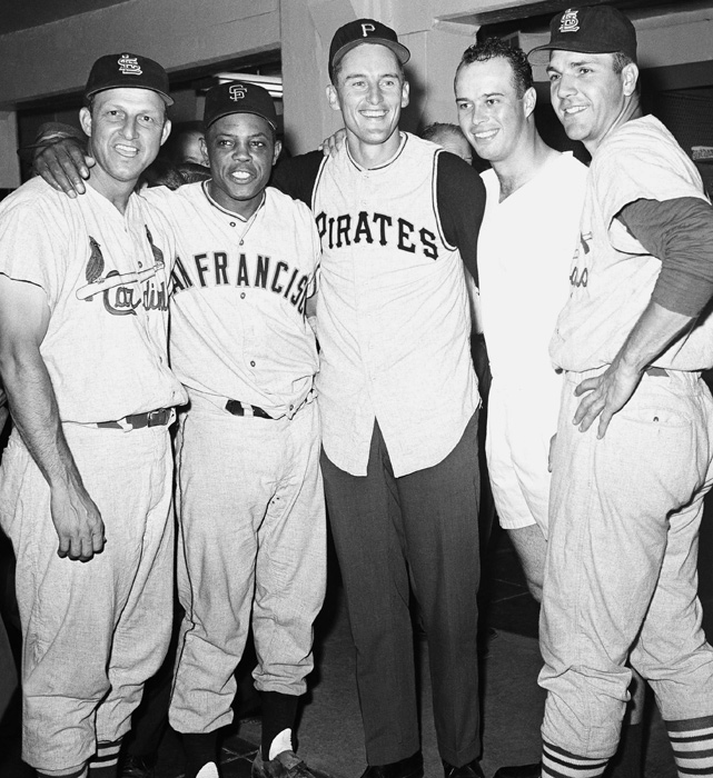 Mays poses with Stan Musial, Vernon Law, Ed Mathews and Ken Boyer after the National League won the 1960 All-Star game 6-0. Law was the winning pitcher and the four each hit home runs to help in the effort.
