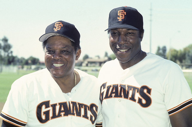 Mays poses with fellow Hall of Famer Willie McCovey during spring training in March 1986. Mays has been a special assistant for the franchise since that season.