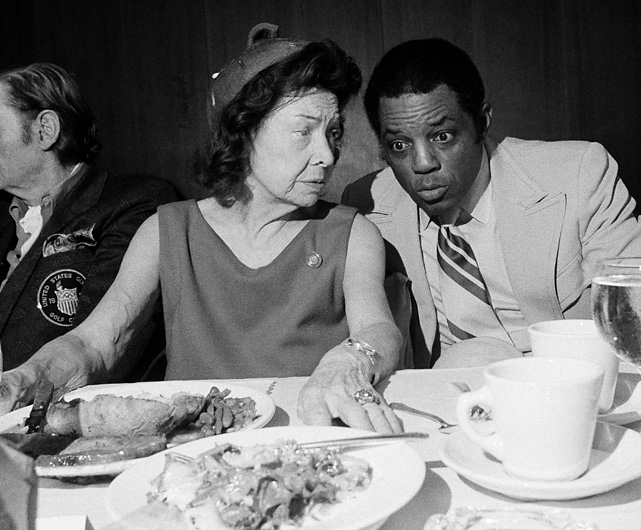 "Mays sits with Claire Ruth, the widow of Yankees' legend Babe Ruth, at a 1972 luncheon honoring players featured in the book, ""Sports Immortals."" When Ruth was asked how she felt about Hank Aaron closing in on her late husband's all-time home run record, Mays whispered to her, ""Don't worry, Mrs. Ruth. No one will ever take the place of the Babe."""