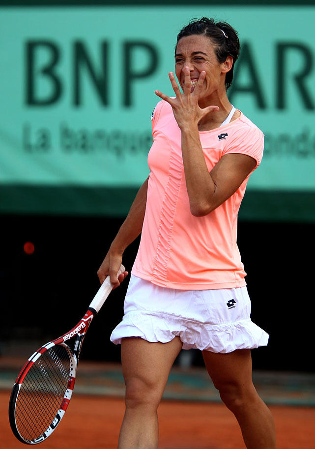 Francesca Schiavone reacts to a point.