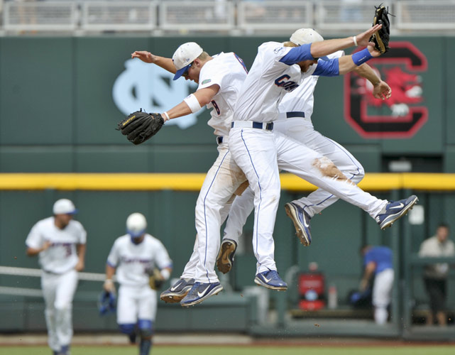 Preston Tucker drove in the go-ahead run with a bases-loaded single in the eighth inning and Florida survived some shaky bullpen work to advance to the College World Series finals with a 6-4 victory over Vanderbilt.