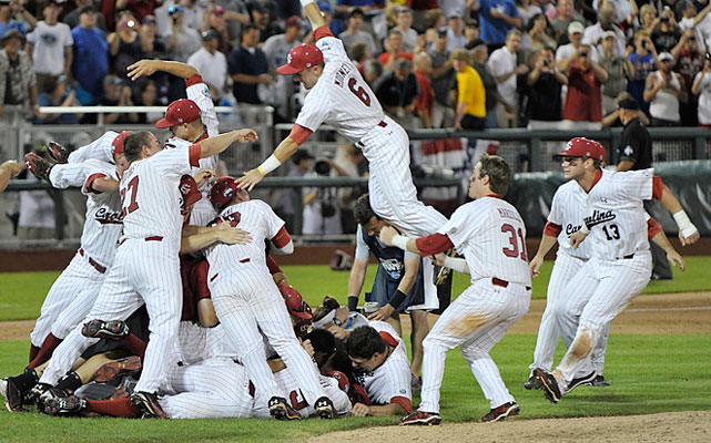South Carolina swept Florida in the finals to win its 16th straight NCAA tournament game and 11th in a row at the College World Series, both records. The Gamecocks became the sixth team to win back-to-back titles and the first to go 10-0 in an NCAA tournament.