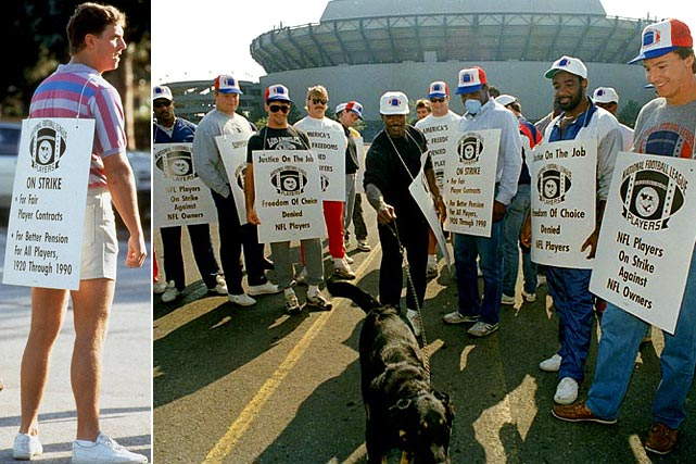 "Although the 1987 NFL lockout resulted in the loss of just one game per team, three other weeks were filled by teams fielded by ""replacement"" players who had crossed the picket lines to play. The players returned to work, defeated, but in the coming years would go on to take their labor battles to court, where they found more success. (Pictured: Dan Marino, left, and Kenny Hill with his dog)"
