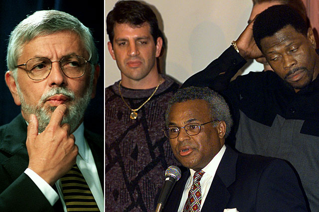 Tip-off for 1998-99 NBA regular season was postponed more than three months because of stalled negotiations over a new collective bargaining agreement. Each team's schedule was shortened from 82 to 50 games and the All-Star Game was canceled. (Pictured, from left: NBA Commissioner David Stern, Danny Schayes, NBAPA Executive Director Billy Hunter, and Patrick Ewing)
