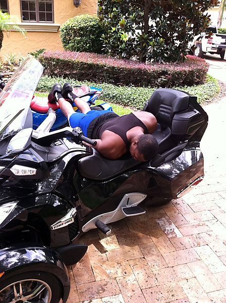 Magic center Dwight Howard, on his motorcycle ...