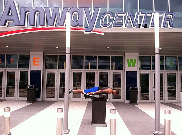 Dwight Howard is still planking. Now he's outside Amway Center.