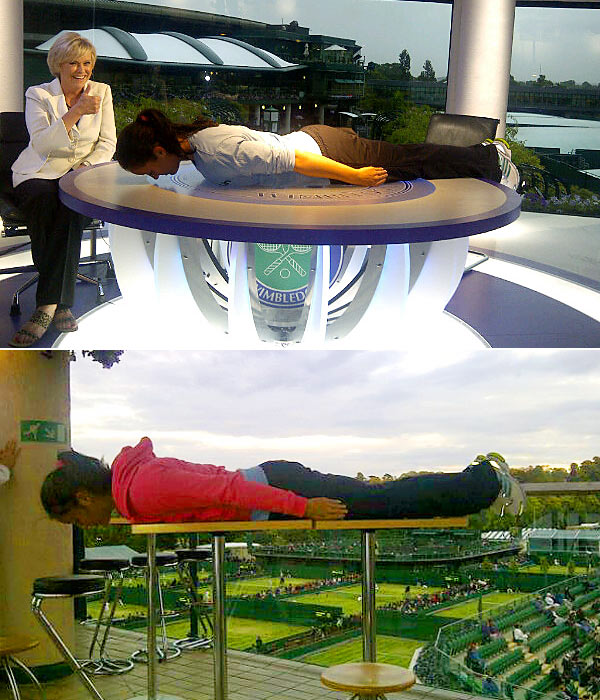 "Former Wimbledon girls' champion Laura Robson engaged  in a planking battle  with compatriot Anne Keothavong. Robson went two up in the ""plank-off"" with these shots."