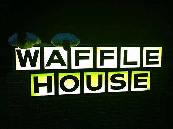 Day 2 of the Ultimate Plank-off with Howard and Arenas ends atop a Waffle House sign. Really, guys?