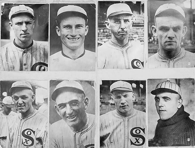 "This nickname for the 1919 White Sox came from an incident that led to life-time bans for eight players and left a black mark on baseball. The Black Sox scandal involved Chicago players throwing the World Series to the Cincinnati Reds in exchange for money from gamblers. Players banned included first baseman Arnold ""Chick"" Gandil, pitcher Eddie Cicotte and outfielder Shoeless Joe Jackson (whose involvement has been disputed)."