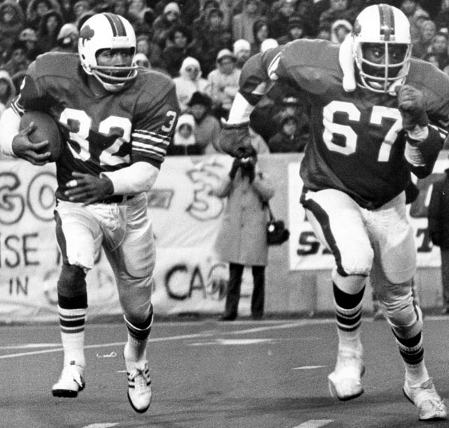 "Back when he was famous only for his football skills, O.J. Simpson bestowed this nickname on his offensive line because they ""turned on the Juice."" Running behind Reggie McKenzie, Joe DeLamielleure, Mike Montler, Dave Foley and Donnie Green, Simpson led the league in rushing four times. In 1973, he broke the single-game rushing record and became the first player to total 2,000 yards in a season."