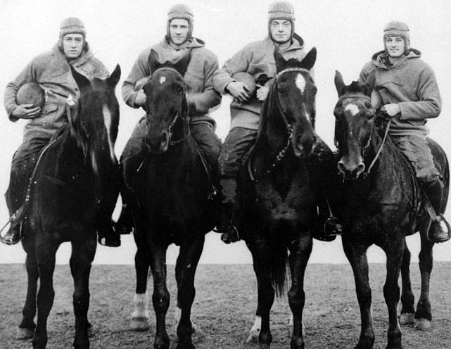 Famed sportswriter Grantland Rice coined the term in 1924 to describe the hard-running Notre Dame backfield of quarterback Harry Stuhldreher, fullback Elmer Layden and halfbacks Jim Crowley and Don Miller. The name stuck thanks in part to a student publicity aide who posed the players atop four horses, in full uniform. The group helped carry Knute Rockne's team to a 10-0 record and national championship.