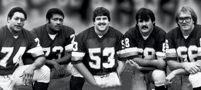 Redskins' offensive line coach Joe Bugel gave his unit this nickname during the 1982 training camp, and the Hogs' core of Jeff Bostic, Russ Grimm, Mark May and Joe Jacoby stayed together until the early 1990s. They played a key role in the strong rushing attack featuring John Riggins that helped the Redskins win three Super Bowls (and reach another) between 1983 and 1992.