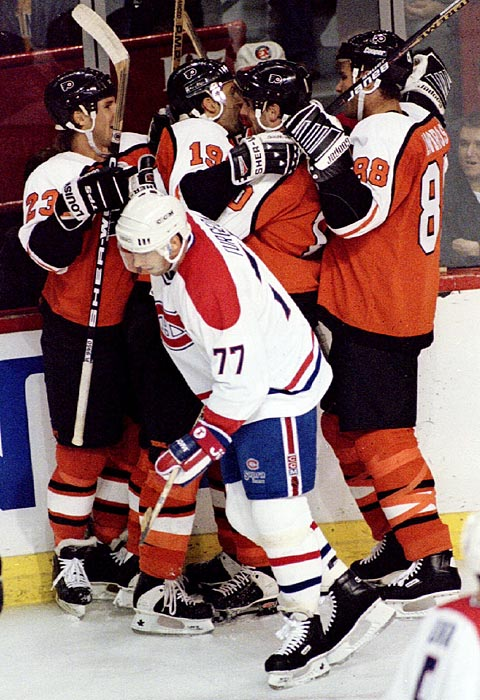 The Flyers suffered a second-half collapse in the 1993-94 season and slow start in 1994-95, but once the high-scoring, physical forward line of Eric Lindros, John LeClair and Mikael Renberg came together, Philadelphia took off. The trio was together for three years, including in 1997 when the team reached the Stanley Cup Finals. Lindros also earned the Hart Memorial trophy in 1995 as league MVP.