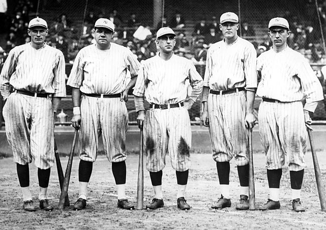 A pitcher's worst nightmare: the first six batters in the 1927 Yankees' lineup -- Earle Combs, Mark Koenig, Babe Ruth, Lou Gehrig, Bob Meusel and Tony Lazzeri. New York went 110-44 on the season and swept the Pirates in the World Series. The team is widely considered one of the best baseball teams ever, mostly for its potent lineup.