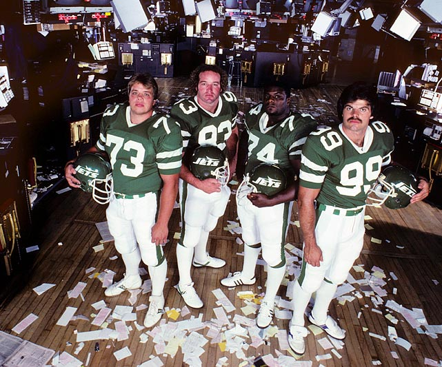 The Jets' defensive line of Mark Gastineau, Joe Klecko, Marty Lyons and Abdul Salaam was among the NFL's best in the early 1980s. The nickname came after the four rang the opening bell at the New York Stock Exchange in November 1981. During that season, the line combined for an unofficial total of 66 sacks (which didn't become an official NFL statistic until the following season). Gastineau's 22 sacks in 1984 was the NFL record until Michael Strahan bettered it in 2001.