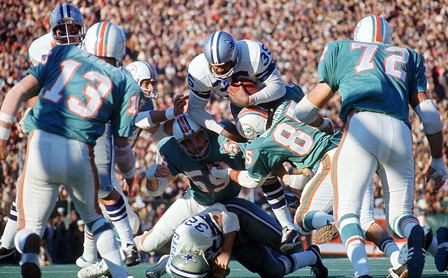 The undefeated 1972 Dolphins had Bob Griese at quarterback, Larry Csonka and Mercury Morris at running back and Paul Warfield at receiver. But the defense, with virtually unknown players, was also crucial to their championship run. The No-Name Defense held opponents to 11 points per game during the season