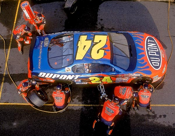 After they began wearing brightly colored uniforms to match the rainbow colors on the No. 24 car, Jeff Gordon's pit crew got a nickname of its own. The team was crucial to Gordon's success, though, as he won four Winston Cup (now Sprint Cup) titles between 1995 and 2001.