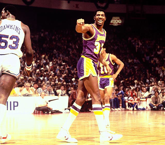 Once Magic Johnson arrived in 1979, the Lakers' high-scoring, fast-breaking ways took off. Joining with Kareem Abdul-Jabbar, James Worthy and others, Johnson guided Los Angeles to five titles in nine seasons. The Lakers also solidified their connection to Hollywood during this time, as home games became must-see events.