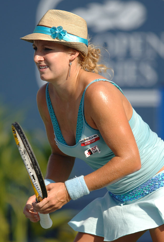 Mattek-Sands wore a hat a during the women's doubles final at the 2005 JP Morgan Chase Open in Carson, Calif. Later this summer, she'd be fined for wearing a similar striped cowboy hat at the U.S. Open.