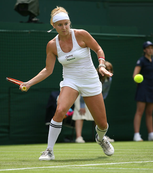 "With the World Cup in full swing, Mattek-Sands opted for a ""soccer theme"" at Wimbledon in 2006: £10 football socks, chandelier earrings, a tube top worn over a strappy vest top, tiny running shorts and a headband. (The Wimbledon museum promptly snapped it up for its collection.)"