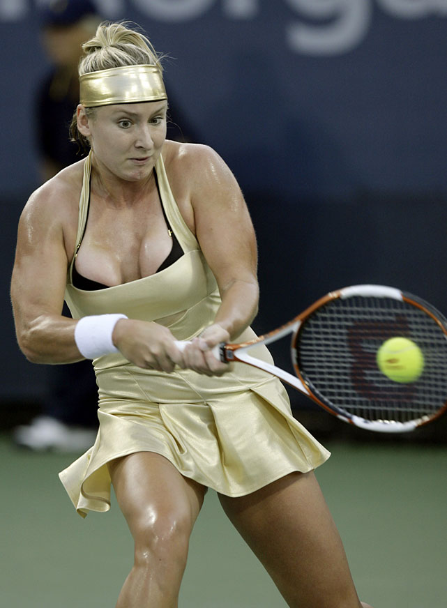 Mattek-Sands won her first U.S. Open match in seven years wearing this metallic number in 2007.
