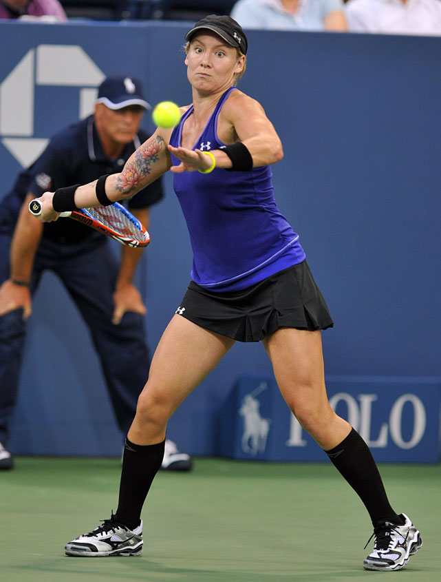 Mattek-Sands regressed to a relatively conservative outfit for the 2010 U.S. Open, but showed off some ink on her forearm.