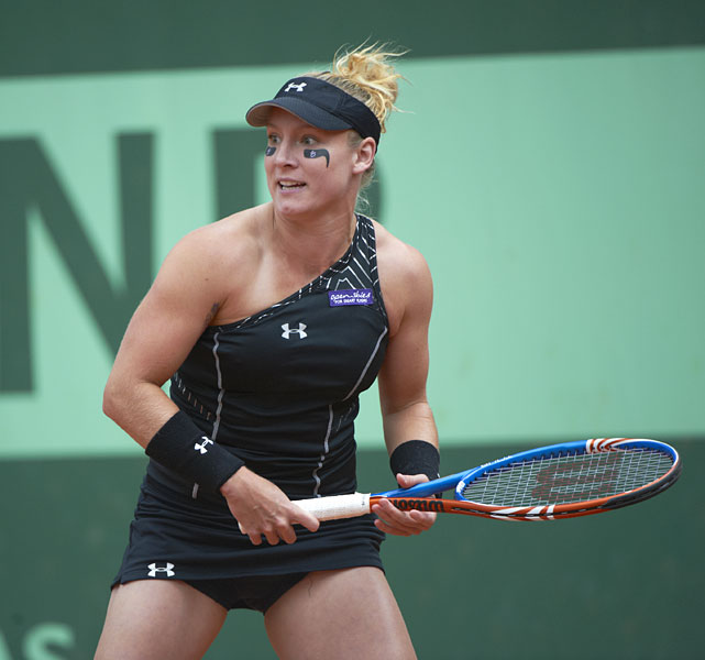 Mattek-Sands donned a black, one-shoulder Under Armour dress at the 2011 French Open.