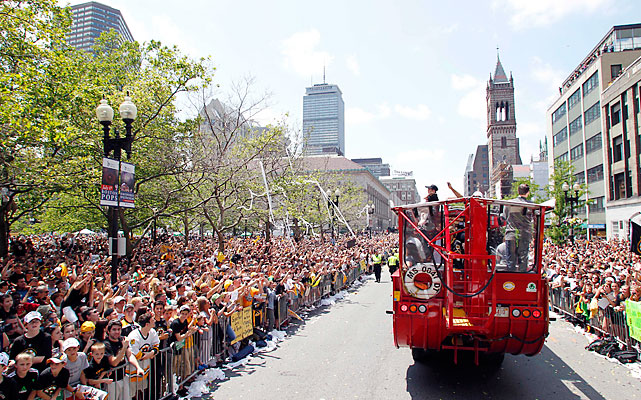 Boston police told the Boston Herald that the crowd was at least as large as the city's six previous sports parades -- which reached as many as 1.5 million people.