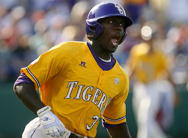 Jared Mitchell, a two-sport star at LSU, helped the Tigers to their sixth national championship in 2009 with an incredible College World Series. Named Most Outstanding Player of the tournament, Mitchell smacked two home runs, eight RBIs and scored four runs in six games.