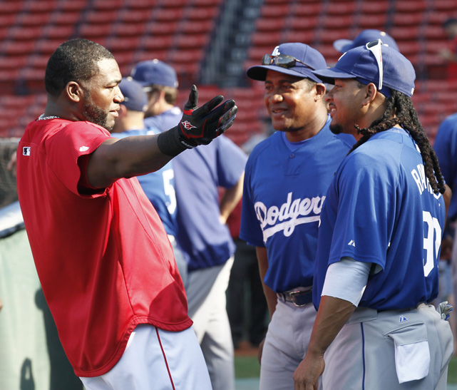 Ortiz jokes with friend and former Red Sox teammate Manny Ramirez before the Los Angeles Dodgers traveled to Fenway on June 18, 2010. Ramirez and Ortiz played together in Boston between 2003-2008 and formed one of the scariest 3-4 combinations in the league.