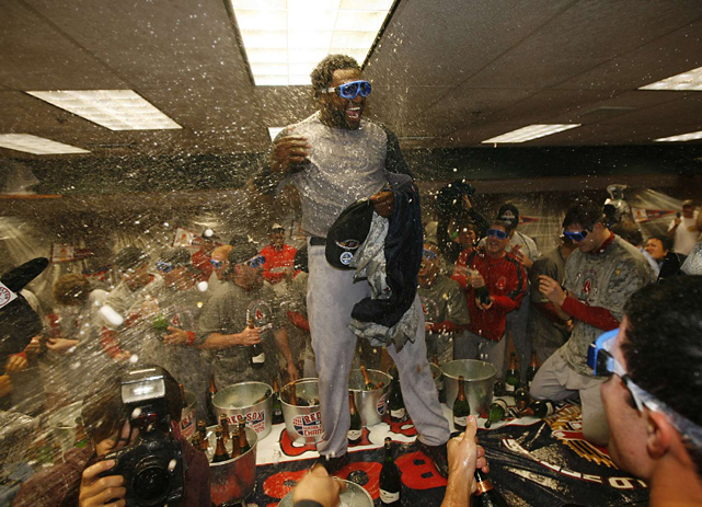 Big Papi celebrates having won the 2007 World Series, his second title with the Red Sox in four years.