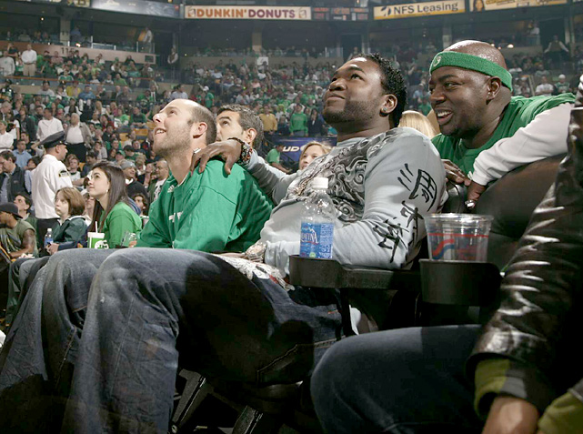 Ortiz and teammate Dustin Pedroia took a break from the start of the 2008 baseball season by watching the Boston Celtics play host to the Atlanta Hawks.