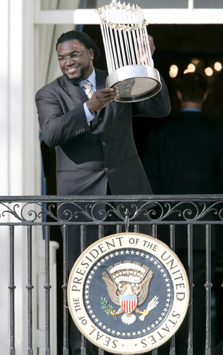 Ortiz holds the World Series trophy at the White House after the Red Sox met with then President George W. Bush on Feb. 27, 2008. Boston defeated the Colorado Rockies in four straight games to capture the series.