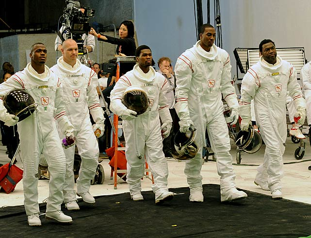 In a photoshoot for a Vitaminwater ad, longtime spokesman David Ortiz dresses as an astronaut alongside Adrian Peterson, Brian Urlacher, 50 Cent and Dwight Howard.