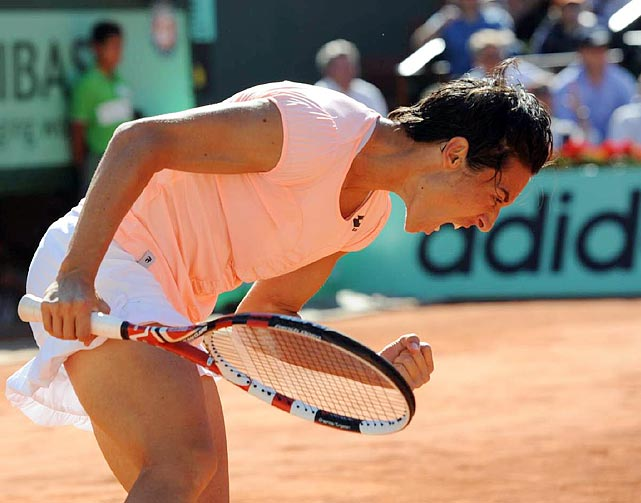 Francesca Schiavone reacts during Thursday's second women's semifinal. Schiavone is trying to become the sixth woman to successfully defend her title at Roland Garros.