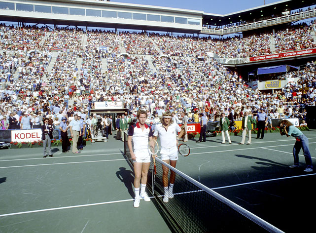 Borg and McEnroe pose before the 1981 U.S. Open men's final.