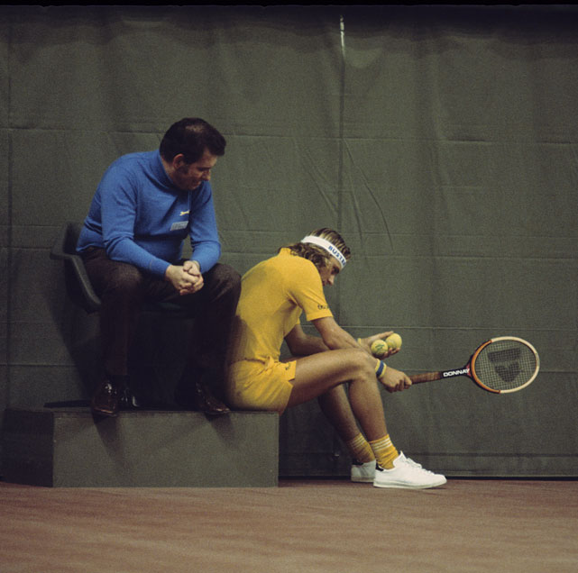 Borg after losing a match at the Commercial Union Life Assurance Grand Prix in Stockholm on Dec. 7, 1975.