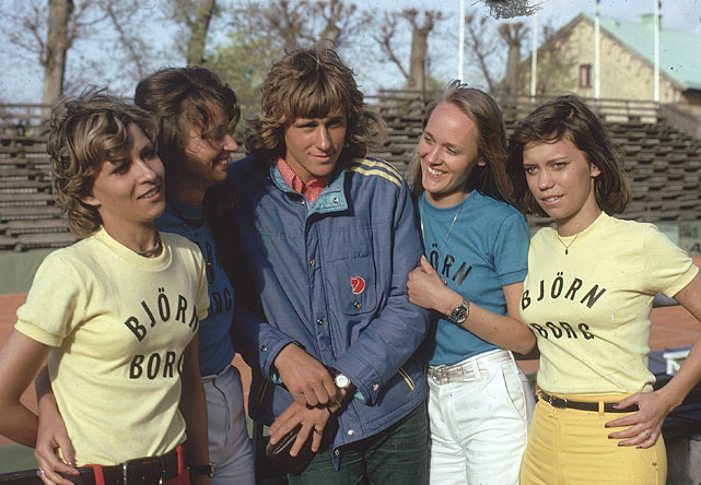 Casual portrait of a 17-year-old Borg with female fans in 1974 in Basted, Sweden.