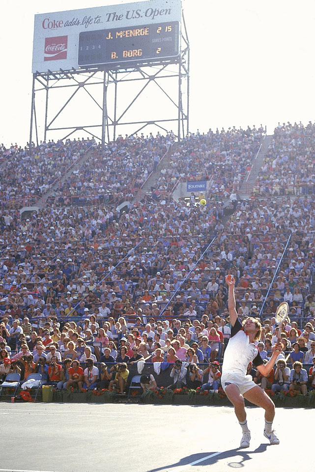 McEnroe serves to Borg during the 1981 U.S. Open men's final.