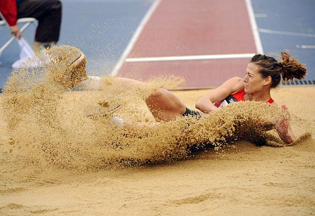 Ukrainian Viktoriya Rybalko kicks up some sand during the women's long jump event at the 2011 Adidas Grand Prix on June 11. Rybalko would finish fourth in the event.