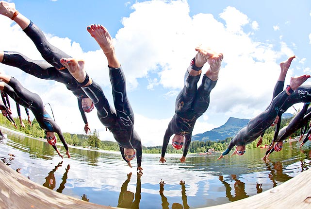 Participants in the women's triathlon seem to synchronize their departure at the ITU world championship series in Kitzbuhel, Austria on June 19.