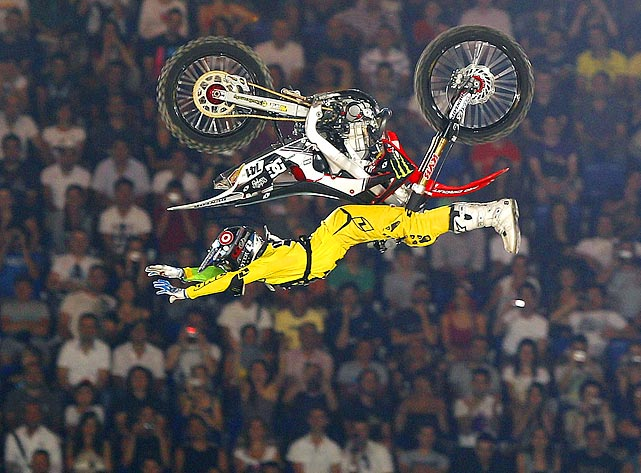 Nate Adams can ride his bike with no handlebars. The American performed this stunt during the Red Bull X-Fighters 2011 World Tour freestyle motorcross event in Rome on June 24.