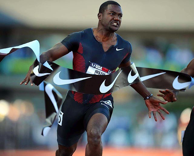 Justin Gatlin finishes second in the 100-meter finals at the USA Outdoor Track and Field Championship in Eugene, Ore. Walter Dix won the event with a time of 9.94 seconds, just .01 ahead of Gatlin.