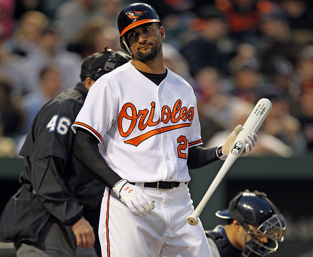 One of the great mysteries of this decade is the loss of Markakis' power. After slugging .491 as a 24-year-old, he's seen that figure drop three straight seasons all the way to .318 in 2011. This year, he's not hitting for average, either: just .244, after five straight seasons above .290. Even with his above-average defense, that makes him a liability for an Orioles team that was, to some extent, built around his bat. Look for the average to rebound -- Markakis is hitting a ton of line drives -- without the power.   Honorable Mention:  Austin Jackson, Tigers. Jackson's rookie campaign, in which he hit .293 with 27 steals, came with stat-head warnings about his ability to maintain that average with such a high strikeout rate and so little power. This year, Jackson's strikeout rate has jumped to 31 percent, his line-drive rate has slipped to 15 percent, and he's hurting the Tigers' efforts to catch the Indians in the AL Central.